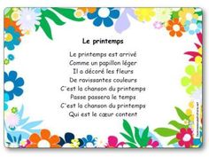 "Nursery Rhyme Spring (Spring has arrived …) – Illustrated letter ""Spring"" - Preschool-Kindergarten French Teaching Resources, Teaching French, Preschool Learning Activities, Spring Activities, Spring Poem, French Poems, French Alphabet, French Education, French Classroom"
