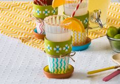 Pattern Clay Cup Holders made with Handmade Charlotte Stencils Peel & Stick stencils available to buy in-store at major craft retailers #crafts #plaidcrafts #diy