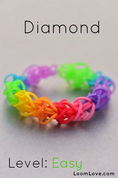 How-to: Make a Diamond Rubber Band Bracelet #rainbow #loom