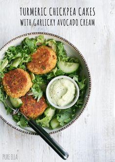 Turmeric Chickpea Cakes/ Burgers Deliciously simple, easy and healthy Turmeric Chickpea Cakes (Naturally Gluten-Free, Grain-Free, Egg-Free, Dairy-Free/Vegan. Veggie Recipes, Whole Food Recipes, Vegetarian Recipes, Cooking Recipes, Healthy Recipes, Recipes Dinner, Bariatric Recipes, Chicken Recipes, Sausage Recipes
