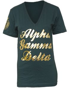 alpha gamma delta crest sleeve v-neck