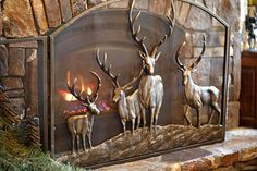 Hand cast aluminum and iron, bronze finish with highlights. center panel each side panel SKU# Deck Fireplace, Fall Fireplace, Fireplace Screens, Rustic Elegance Decor, Rustic Design, Rustic Decor, Deer Pictures, Deer Decor, House In The Woods