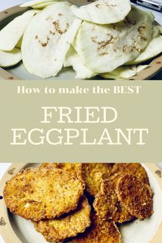 This crispy fried eggplant is the perfect appetizer for a crowd. Or make this easy sauce and make it eggplant Parmesan for an easy dinner! #friedeggplantrecipes