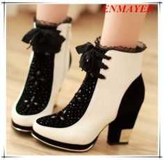 ENMAYER Fashion Womens Ankle Martin Boots 2013 Brand New Casual Dress Shoes Vintage Thick High Heel Platform Motorcycle Boots $84.50 - 88.50
