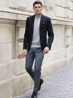 wholesale dealer 29a0d 4c375 Men s Charcoal Wool Blazer, Grey Long Sleeve T-Shirt, Grey Dress Pants,  Black Leather Derby Shoes. Top Mens Fashion