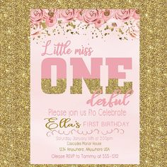 Little Miss ONEderful Birthday Invitation , Birthday Invitation , Girls Invitation Pink and Gold Girl Birthday Invite, Ballerina invitation – Invitation Card Ideas 1 Year Old Birthday Party, 1st Birthday Party For Girls, Winter Birthday Parties, Girl Birthday Themes, Little Girl Birthday, Birthday Ideas, Ballerina Birthday, Card Birthday, Cars Birthday Invitations