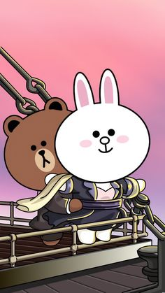Line Brown Bear, Dandelion Wallpaper, Interracial Art, Cony Brown, Cute Bear Drawings, Cute Couple Art, Cute Love Gif, Bunny And Bear, Cute Love Cartoons