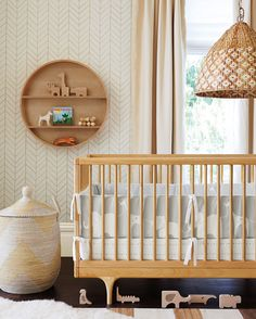 Grayson Organic Nursery Collection at Serena and Lily, styled with our Safari Wood Puzzle + Play.