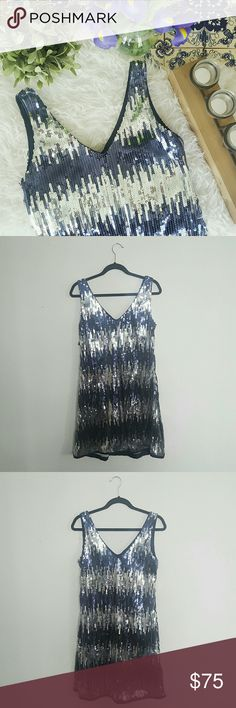 SL FASHIONS sequined blue and silver dress Please let me know if you have any questions or want to make an offer! 💕 SL Fashions Dresses Wedding