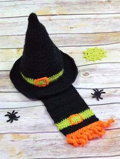 Free #Crochet Patterns and Tips: #Halloween Witch Hat and Scarf
