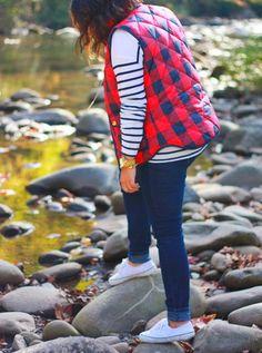 Ninesto5 \\ Blog Buffalo Check Puffer Vest - Gatlinburg, TN Rainy Day Outfit For School, School Outfits, Outfit Of The Day, Puffer Vest Outfit, Vest Outfits, Gatlinburg Tn, Buffalo Check, Blog, Jackets