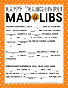 Thanksgiving Mad Libs Printable Game This silly Thanksgiving Mad Libs Printable is perfect for keeping the kids entertained and occupied while the turkey finishes cooking! We LOVE Mad Libs! Thanksgiving Games For Adults, First Thanksgiving, Thanksgiving Parties, Thanksgiving Activities, Holiday Activities, Thanksgiving Crafts, Thanksgiving Decorations, Thanksgiving Traditions, Holiday Crafts