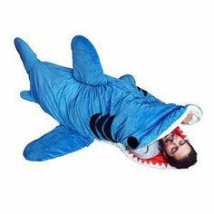 Shark sleeping bag, ha! @Alyssa Gustafson you need this!