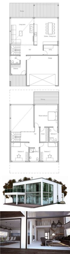 Contemporary home plan with large kitchen and three bedrooms. Suitable to narrow lot. Big windows and spacious interiors.