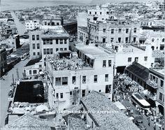 Panoramica de las calles P.J.Mendez y la calle Rivera en la inundacion de 1955.