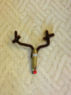 Rudolph ornament made out of a bullet. I love it Uncle Philip! Christmas Tree Toppers, Diy Christmas Ornaments, How To Make Ornaments, Holiday Crafts, Christmas Holidays, Happy Holidays, Holiday Decor, Bullet Casing Crafts, Bullet Crafts