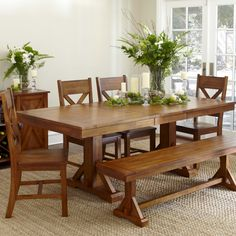 Casual Wooden Dining Table Wood Bench Tables With