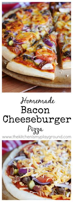 Bacon Cheeseburger Pizza ~ all your favorite cheeseburger toppings, on a pizza!   www.thekitchenismyplayground.com