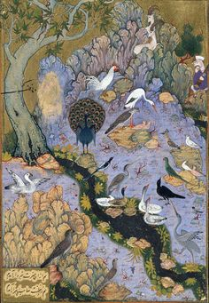 The Conference of the Birds: Page from a manuscript of the Mantiq al-Tayr (The Language of the Birds) of Farid al-Din Attar [Iran (Isfahan)]