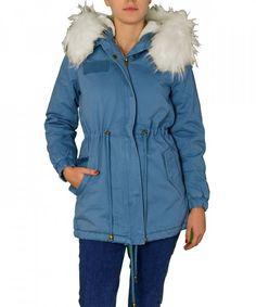 Γυναικείο παρκά με γούνα και κουκούλα μπλε ανοιχτό FD196R   χειμωνιατικαμπουφανγυναικεια Parka 5a126b182c5