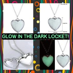 """Real Glowing Heart Locket #55 Put a small keepsake photo in this adorable hear shaped locket necklace! Width & Length of the locket are .9"""" more than half an inch., so very much possible to find a photo of a loved one to put inside!   Offers Welcome  #W055 FASHION JEWELRY Jewelry Necklaces"""