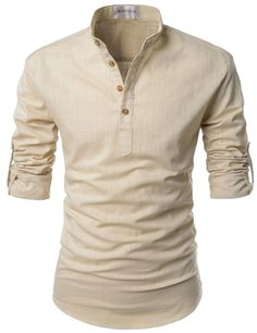 Mens Beige Henley Mandarin Collar Roll-up Long Sleeved Linen Shirts