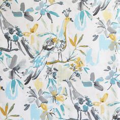 A watery, painted bird fabric in fresh colours of turquoise, aqua, grey, yellow and cream. Perfect for upholstery, roman shades, pillows and home decor projects.