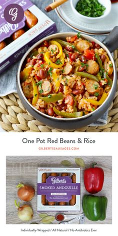 Just 1 month until Get ready with this one pot beans & rice recipe using Gilbert's Smoked Andouille Chicken Sausage Andouille Sausage Recipes, Chicken Sausage Recipes, Pork Recipes, Vegetarian Recipes, Healthy Recipes, Oven Recipes, Rice Recipes, Healthy Meals, Easy Recipes