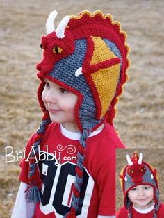 Looking for your next project? You& going to love Crochet Dragon Hat Pattern (US TERMS) by designer BriAbby. Earflap Beanie, Crochet Beanie, Knit Crochet, Ravelry Crochet, Crocheted Hats, Double Crochet, Single Crochet, Crochet Crafts, Crochet Projects