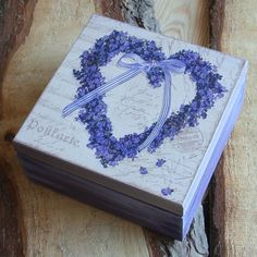 $14,Wooden box 'lavender heart' by Angellum1 on Etsy
