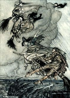 'The Witche's Frolic' illustration from The Ingoldsby Legends, or Mirth and Marvels – Illustrated by Arthur Rackham
