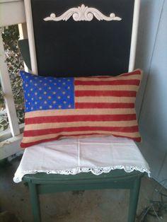 Burlap American Flag pilllow, Fourth of July decor, patriotic decor on Etsy, $27.00