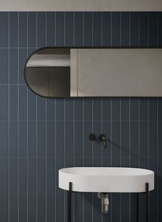 """WESTPORT is a twice fired wall tile collection in a rectangular format 6,5×26 cm – 2,5""""x10"""". The colour palette of this collection is distinguished by the soft and refined colours, suitable to cover both modern and trendy interiors. The collection is characterized by mat silk surface, which to touch, resembles soft silk material. Silk Material, Wall Tiles, Sink, Mirror, Bathroom, Modern, Furniture, Color, Palette"""