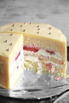 lemon, white chocolate & strawberry layer cake.