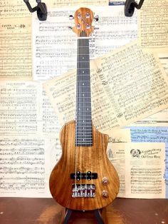 This is a fantastic Big Island bass ukulele. The acacia electric bass is a heavyweight instrument with magnetic pickup and bright, contemporary tone. Bass Ukulele, Guitar Tabs, Cool Guitar, Bass Guitars, Ukulele For Sale, Guitars For Sale, Custom Electric Guitars, Gift For Music Lover, Double Bass
