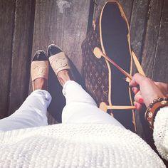 Chanel espadrilles + all white clothes + Monogram Louis Vuitton Neverfull