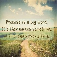 How do you keep a promise to yourself?