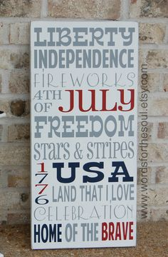 4th FOURTH of JULY Typography Subway art america usa patriotic