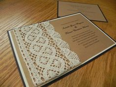 Crocheted Lace Wedding Invitation by WhiteGownInvitations