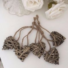 SHABBY COUNTRY STYLE CHIC 5 MINI WILLOW WICKER HEARTS NATURAL , WEDDING, HOME