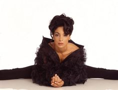 Portrait of American actress Jasmine Guy dressed in black as she poses on the floor against a white background 2000 Jasmine Guy, Tv Show Outfits, Black Sisters, Vintage Black Glamour, Dark Skin Girls, Feminine Energy, Guy Pictures, Natural Looks, Beautiful Black Women