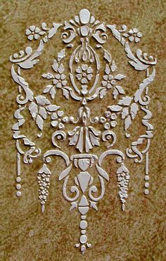 Beautiful Raised Plaster Stencils, Painting Stencils and Decorative Plaster Molds for DIY Decorating. Large Stencils, Stencil Painting, Stenciling, Plaster Art, Plaster Molds, Diy And Crafts, Arts And Crafts, Faux Painting, Painted Furniture