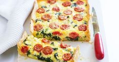 Spinach, feta & tomato slice Served hot from the oven for dinner, or cold for lunch, this creamy slice is a winner at any time of day. Vegetable Dishes, Vegetable Recipes, Vegetarian Recipes, Cooking Recipes, Healthy Recipes, Healthy Mummy, Savoury Slice, Savoury Tarts, Brunch