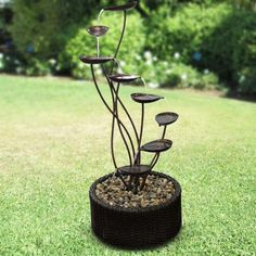Metal Tiering Leaf Fountain from Alpine is a perfect addition or focal point to any room or outdoor space. Bench With Storage, Outdoor Storage, Fountain, Outdoors, Leaves, Gardening, Canning, Metal, Plants