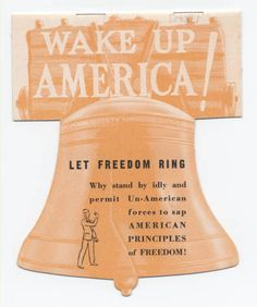 Wake up America! Let freedom ring.  Brochure of the Non-Sectarian Anti-Nazi League to Champion Human Rights Inc. First organized in 1933 to boycott German imports. Jewish Federation Council of Greater Los Angeles' Community Relations Committee Collection.