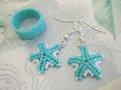 Peyote Earrings and Ring in Turquoise and White - Seed Bead Beaded Band Beadwork Star Earrings Handmade Simplicity Minimalistic Classic on Etsy, $20.00
