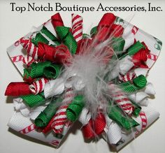 Girls Hair Bows, : Christmas Candy Cane Korker Marabou Hair Bow Christmas Candy Cane Korkers Marabou Hair Bow Large Wide Bow Embellished with . Ribbon Hair Clips, Hair Ribbons, Diy Hair Bows, Diy Bow, Christmas Bows, Christmas Ideas, Christmas Decor, Toddler Hair Bows, Making Hair Bows