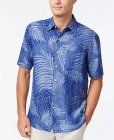 Tasso Elba Linen Leaf Jacquard Short-Sleeve Shirt, Only at Macy's - Purple XXL