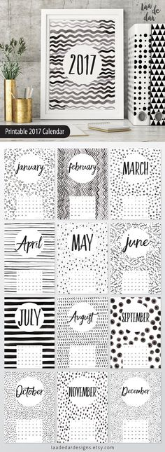2017 Printable Calendar - Size: A4 (210 x 297mm) This listing is for a digital file INSTANT DOWNLOAD of this artwork - No physical item will be sent **This design is 100% unique and all patterns were hand painted by us!** .......... HOW TO USE IT .......... - PRINT on paper or cardstock... - FRAME it! - SPIRAL BIND it! .......... FILES YOU WILL RECEIVE .......... - 1x PDF File - x12 JPEG Files .......... WHAT TO DO NEXT .......... We suggest: -Take these files to officew...