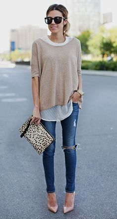 neutrals & animal print. relaxed sweater
